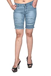 Nifty Women's Denim Shorts (1307, Grey, 32)