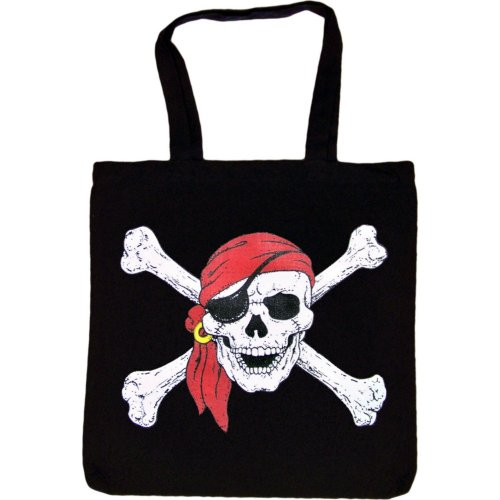 Tote Bag : RED BANDANA PIRATE SKULL AND CROSSED BONES