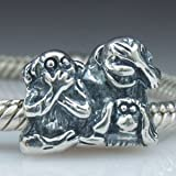 Everbling See No Evil Hear No Evil Speak No Evil Monkey 925 Sterling Silver Core Bead Fits Pandora Chamilia Biagi Troll Charms Europen Style Bracelets