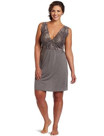 Natori Women's Plus-Size Zen Floral Chemise Nightgown, Gray, 1X
