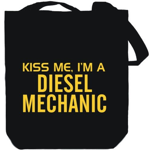 KISS ME, I AM a Diesel Mechanic Black Canvas Tote Bag Unisex