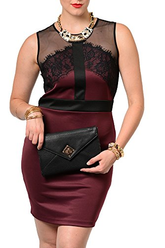 Dhstyles Women'S Plus Size Demure Sheer Mesh Lace Fitted Date Dress-1X - Burgundy,Black