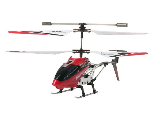 Syma Aluminum Case Packed 3 Channels Remote Control Helicopter with Gyroscope and EU Charger (Red)