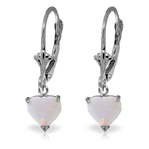 1.3 Carat 14K Solid White Gold Leverback Earrings Natural Opal