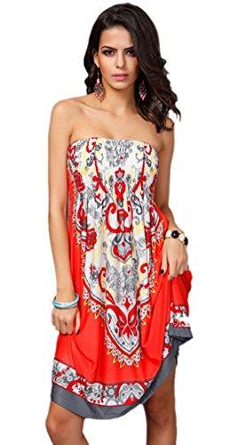 Honeystore Women's Fashion Spring Summer Flower Print Resort Beach Sundress Watermelon M