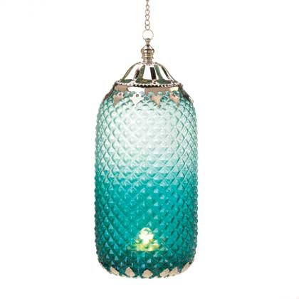 Tall Blue Candle Lantern
