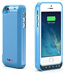PowerBear iPhone 5SE / iPhone 5S / iPhone 5C / iPhone 5 [Stamina Series] Extended Rechargeable Battery Case with Built in USB PowerBank with 4200mah Capacity (Up to 250% Extra Battery) - Blue [24 Month Warranty and Screen Protector Included]