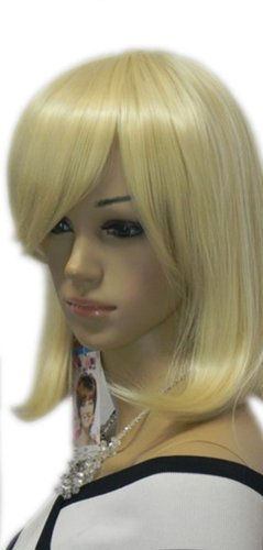 Qiyun Long Medium Blonde Straight Ramp Bang Synthetic Hair Full Wig Costume