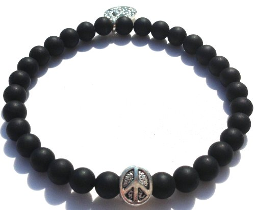 Jubel & Stern,high quality men's bracelet made   of onyx beads with a beautiful Peace pendant. Handcrafted in Germany