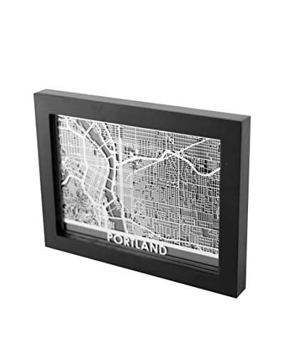 Cut Maps Framed Stainless Steel Portland Map