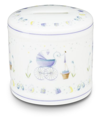 Sweet Petite by Pavilion Ceramic Money Bank for Baby Boy, 3-1/4-Inch