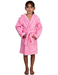 TowelSelections Big Girls Turkish Cotton Hooded Kids Terry Bathrobe Cover-up Size 10 Light Pink