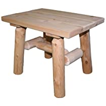Cedar Log End Table, Natural