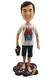 Model D15 Fully Custom Design Personalized Bobble Head Clay Figurines Based on Customers\' Photos Unique Gift For Boyfriend Father Men