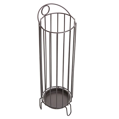 Freestanding Entryway Brown Metal Umbrella Stand Basket / Walking Cane Rack Hallway Organizer - MyGift®