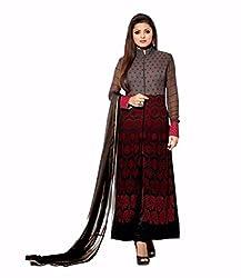 JJR Store Designer Grey Georgette Embroidered Dress material