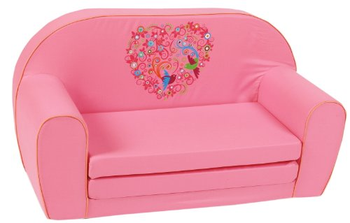 knorr baby 430165 kindersofa zum ausklappen bird flowers rosa m belrado. Black Bedroom Furniture Sets. Home Design Ideas