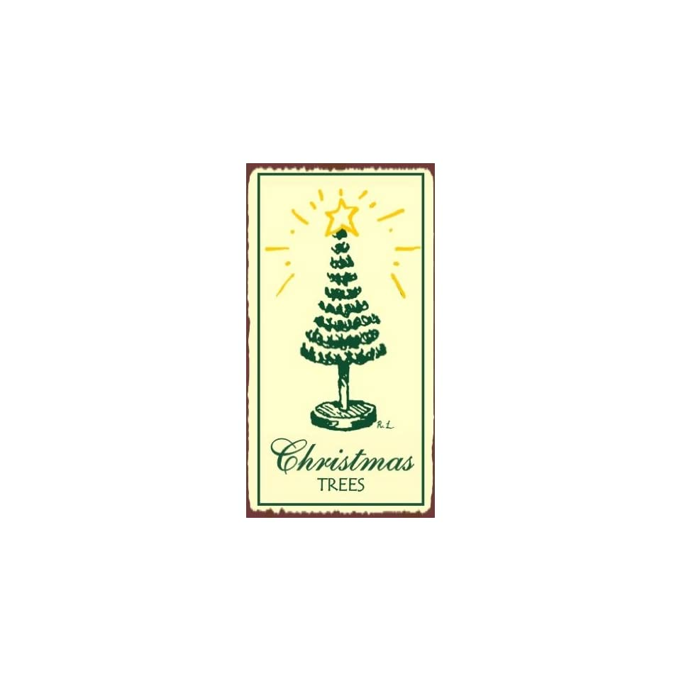 Christmas Trees Vintage Metal Art Holiday Retro Tin Sign