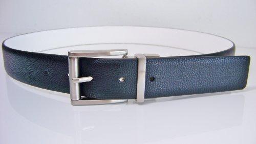 Michael Kors Mens Reversible Belt Black/White Silver Buckle Size 36