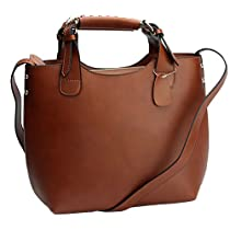 Hot Sale Fineplus Women's 100% Leather Smooth Skin Shoulder Bag Big Brown