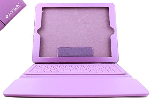 Sanoxy Ipad2/3/4 Case With Integrated Bluetooth Keyboard/2 In 1 Premium Vegan Leather Case Cover W/Bluetooth3.0 Keyboard For Ipad2 Ipad 2 2Nd/Ipad3/4 (Purple) front-337260