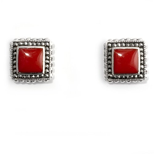 Little Treasures Nickel Free Sterling Silver Earrings Carnelian, Marcasite Stud Earring