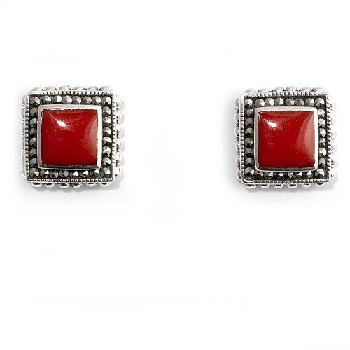 Little Treasures Nickel Free Sterling Silver Earrings Carnelian, Marcasite Stud Earring
