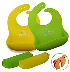 Soft Silicone Baby Bibs - Easy Roll-Up, Waterproof, Cleans & Dries Fast - FREE Fingers & Toe Guard - Comfort For Toddlers Boys & Girls - Wide Food Catcher Pocket - Lifetime Guarantee - GREEN & YELLOW