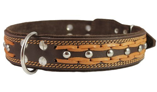 High Quality Genuine Leather Braided Studded Dog Collar, Brown 1.75 Wide. Fits 22-27 Neck, XLarge. by Dogs My Love