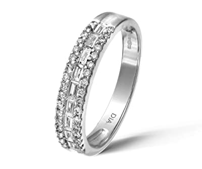 Ariel 18ct White Gold Channel Set Baguette and Round Diamond Eternity Ring