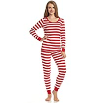 Leveret Womens Fitted Striped Pajama 100% Cotton (XS-XL) (Medium Red & White)