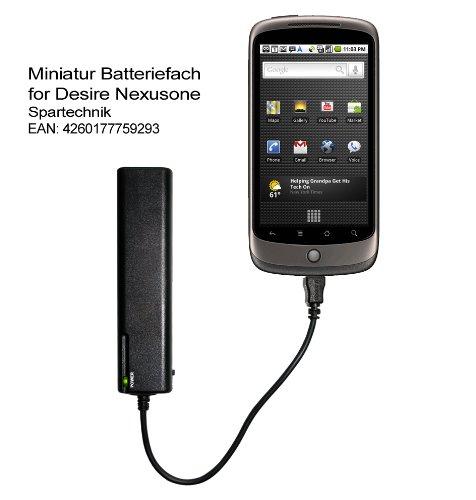 Miniatur Batteriefach Google Nexus One: Externes Batterieladegerät für HTC Desire & Google Nexus 1, NexusOne Smartphone