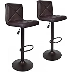 2 PU Leather Modern Adjustable Swivel Barstools Hydraulic Chair Bar Stools BT10 Brown