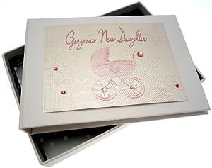 White Cotton Cards - Álbum de fotos de bebé, diseño de cochecito, color rosa en BebeHogar.com