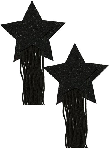 Black Sparkle Star With Fringe Nipple Pasties By Pastease O/S