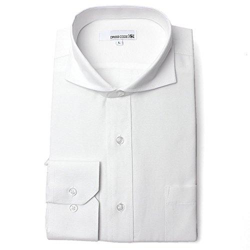 オックスフォード ドレスシャツ 長袖 ワイシャツ Yシャツ シャツ メンズ スリム ホワイト カッタウェイ ホリゾンタルカラー DC7001C-4588