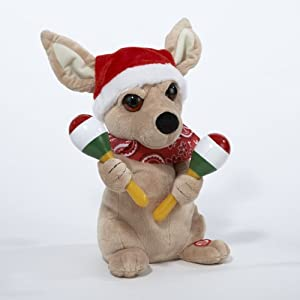 "11"" Musical Animated Christmas Chihuahua with Maracas & Santa Claus Hat"