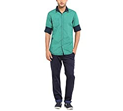 Copperstone Men's Casual Shirt (8903944577305_Green_XX-Large)
