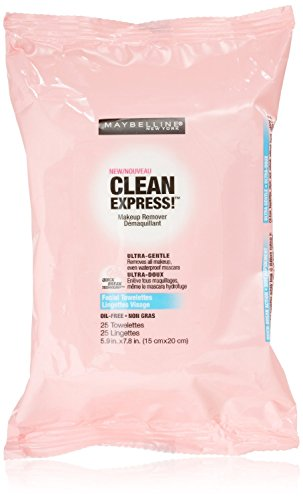 Maybelline New York Clean Express Makeup Remover Facial Towelettes, 25 Count (Pack Of 3) front-966976