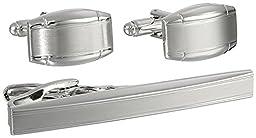 Geoffrey Beene Men\'s Cufflink and Tie Clip Set, Deep Silver, One Size