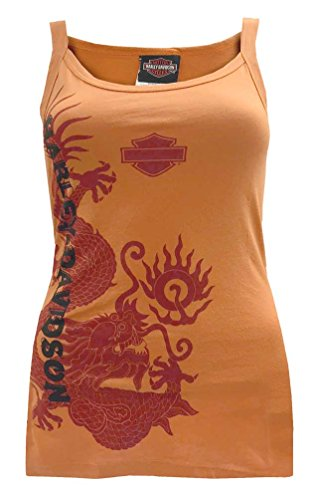 Harley-Davidson Women's Tank Top, Dragon Ball Of Fire Graphic, Burnt Orange (L)
