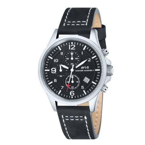 AVi-8 Hawker Harrier II Men's Quartz Watch with Black Dial Chronograph Display and Black Leather Strap AV-4001-01