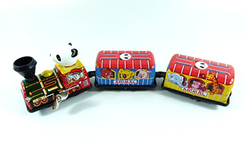Wind up 3 Carriage Panda Animal Tin Toy Train from Japan