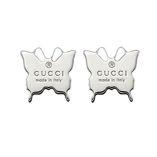 Gucci orecchini in argento con farfalla incisa Trademark YBD223985001