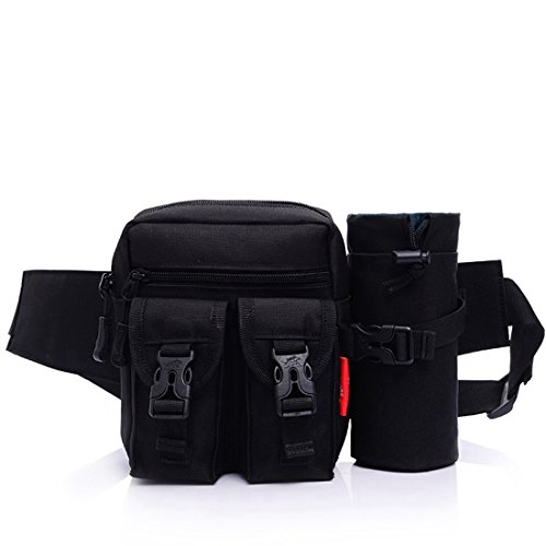 Tactical marsupio cintura porta borraccia staccabile Outdoor Waistpacks attrezzature militari Gear da viaggio per uomo e donna, nero