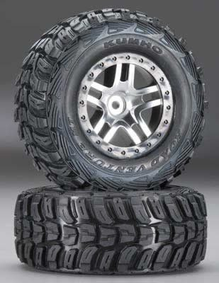 traxxas-6874-kumho-tires-on-split-spoke-satin-chrome-black