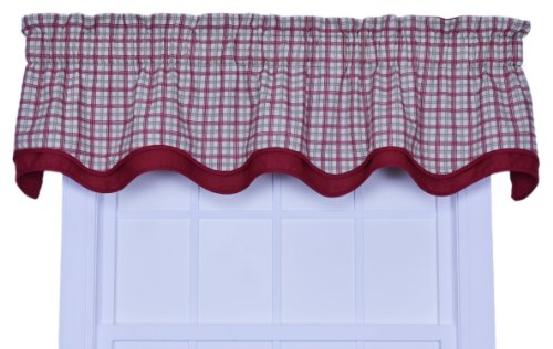Ellis Curtain Bristol Collection Two-Tone Plaid Bradford Valance Window Curtain, Red