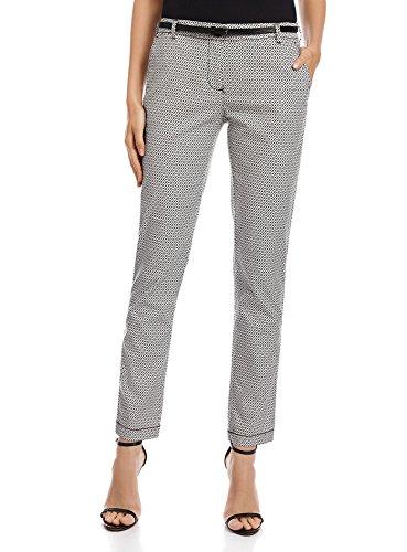oodji Ultra Donna Pantaloni Chino con Cintura, Bianco, IT 40 / EU 36 / XS