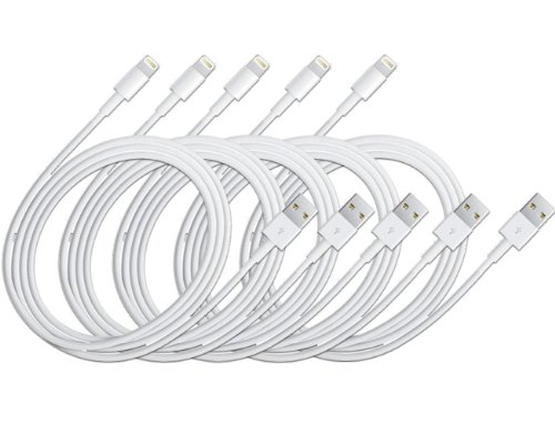 20Tech (TM) 5 pcs. White 8-pin Lightning USB SYNC Cable Cord Charger For Apple iPhone 5s/5c/5, iPod Nano 7, iPod Touch 5, iPad 4, iPad with Retina Display and the iPad Mini