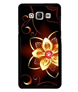 printtech Golden Flower Diamond Back Case Cover for Samsung Galaxy E5::Samsung Galaxy E5 E500F